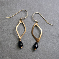 Black Drop Dangle Earrings - Simple, Minimalist Earrings