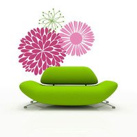 Vinyl Wall Decal  - Mod Flowers - large wall stickers