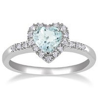 Sterling Silver Aquamarine and Diamond Heart Ring (0.1 cttw, G-H Color, I2-I3 Clarity):Amazon:Jewelry