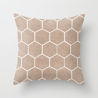 natural hexagon Throw Pillow by her art
