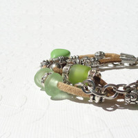 Suede Bracelet Brown, Apple Green Magnesite Beaded Bracelet