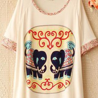 Little Flower Sleeves Elephant Loose T-shirt