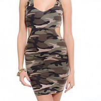 Strappy Cutout Camo Dress