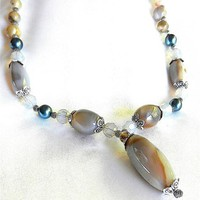Old India Agate, Swarovsky Pearls, Crystal Beads on Pendant Necklace