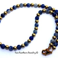 Sodalite And Gold - Beaded Anklet - Ankle Bracelet - Gift For Her - Denim Blue Anklet - Sodalite Anklet - Boho - Gift Under 20 - Gold Anklet