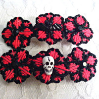 Gothic Red Or Purple And Black Flower Skull Barrette or Bat