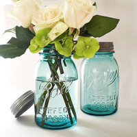 Blue Mason Jars, Turquoise Wedding Decor, Antique Ball Canning Jar, Table Setting Centerpiece Vase