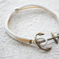 Summer Bracelet No14 Antiqued brass Anchor by littlejarofhearts