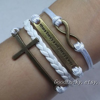 "Leather Bracelet,Infinity Bracelet,Cross Bracelet,""Where There's a Will There's a Way""Bracelet-white wax rope leather bracelet"