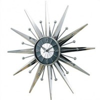 Verichron Starburst Wall Clock in Silver and Black - Sun-2407