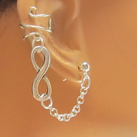 Infinity Silver Ear Cuff With Chain