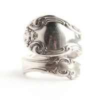 Vintage Sterling Silver Spoon Ring - Vintage Size 6 Alvin Sterling French Scroll Jewelry / Floral Filigree