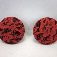 Red Lace Fabric Covered Button Earrings, Lace Earrings, Button Earrings