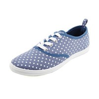 Canvas Polka Dot Lace-Up Sneaker: Charlotte Russe