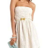 Belted Ruched Lace Tube Dress: Charlotte Russe