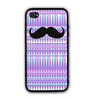 Purple Aztec Pattern Black Mustache iPhone Case - Rubber Silicone iPhone 5 Case