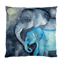 Elephant Cushion Case/Throw Pillow/Pillow by HeavenlyCreaturesArt