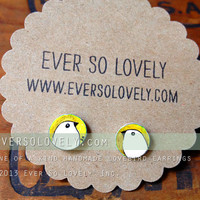 hand drawn yellow and white love bird earrings - one of a kind
