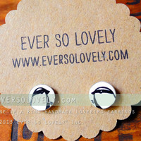 hand drawn black and white love bird earrings - one of a kind
