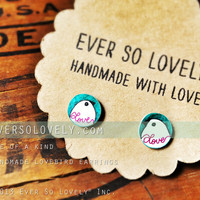 hand drawn love bird earrings in teal blue - one of a kind