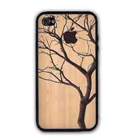 Art Apple Tree On Wood Pattern Design iPhone Case Rubber Silicone iPhone 5 Case