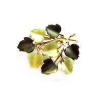 Green Thermoset Moonglow Lucite Leaf Brooch