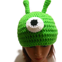 Crochet Brain Slug Beanie Hat in Bright Green