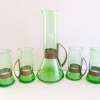 RARE MID CENTURY MODERN HAND BLOWN SCANDINAVIAN ART GLASS DECANTER/CARAFE SET