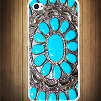 Blue Turquoise Desert Gem iPhone Case - Rubber Silicone iPhone 5 Case