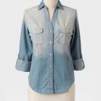 Going West Chambray Button Up Top at ShopRuche.com