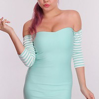 Mint White Stripe Sleeves Sexy Dress