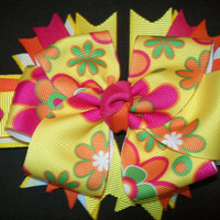 Yellow/Hot Pink/Orange/Green Floral Boutique Bow