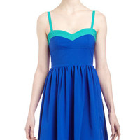 Colorblock Sweetheart Dress, Royal/Jade