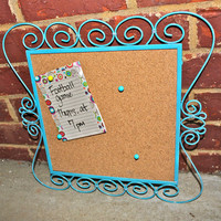 Turquoise Blue Framed Cork Message Board by AquaXpressions Fun Chic Decor by Aqua Xpressions