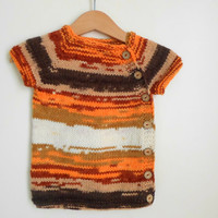 Baby vest wool. Multi color baby sweater. Baby gift, baby shower gift. unisex, new baby gift. Fall colors