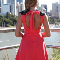 Hot Pink Skater Dress with Black Lace Neck