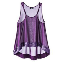 Mossimo® Women's Sheer Tank w/ Sequin Border- Deep Purple