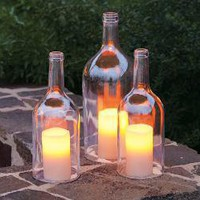 Italian Flint Bottle Hurricanes - Outdoor Lighting - Home &amp; Garden - NapaStyle