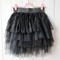 Girl pretty Tutu Tulle 5 Layer Mini Short Skirt Cake Dress Women dress Black