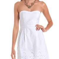 Eyelet Lace Hem Tube Dress: Charlotte Russe