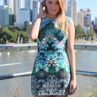 Multi Color Print Bodycon Dress with High Cut Line Neckline