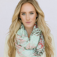 Mint Infinity Scarf Pastel Water Color Summer Scarf Chunky Infinity Scarf Women's Fashion Accessories (SCF-120B)
