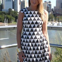 Monochrome Triangle Print Sleeveless Bubble Dress