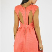 Peach A-Line Dress with Front and Back Cutouts