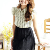 CHIC POLKA DOT SHIRT RUFFLE SLEEVE DRESS