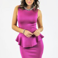 Fuschia Peplum Dress with Cutout Back