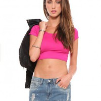 Clarissa Crop Tee - Hot Pink | GYPSY WARRIOR