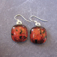 Red Earings, Dangle Dichroic Earrings, Fashion Jewelry, Ear Jewelry on Etsy - Saxman - 1704 -3