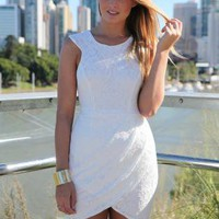 White Lace Dress with Pleat Detail and Round Neckline