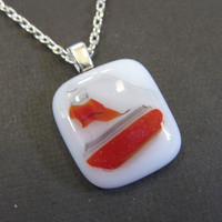 A Petite Fused Glass Necklace, White, Red - Goosebumps - 3517